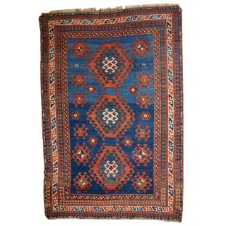 1900s Hand Made Antique Caucasian Kazak Rug - 3′10″ × 6′
