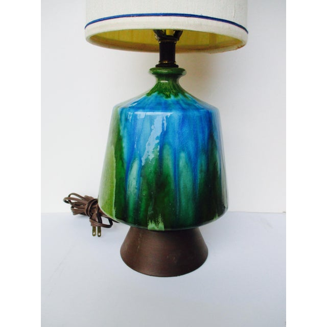 Image of Mid-Century Modern Turquoise Ceramic Table Lamp