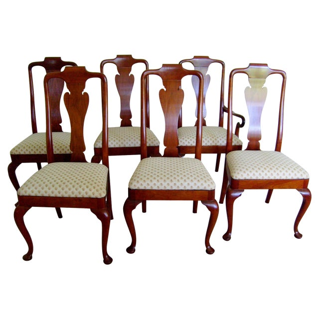Queen Anne Style Dining Chairs By Baker Set Of 6 Chairish