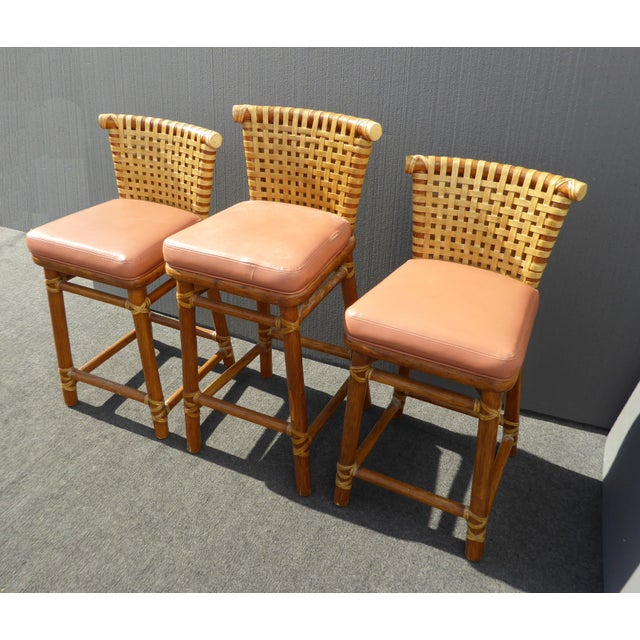 McGuire Bamboo Barstools with Laced Rawhide - Set of 3 - Image 5 of 11