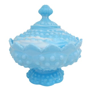 Hobnail Blue Swirled Milk Glass Candy Jar