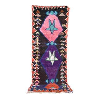 "Moroccan Vintage Boucherouite Rug - 8' X 3'2"""
