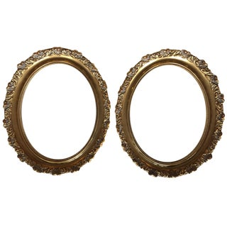 Vintage Oval Gold Wood Frames - A Pair