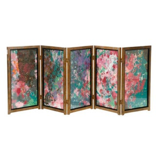 Five-Panel Mixed Media Screen by Margie Hughto W/Provenance!