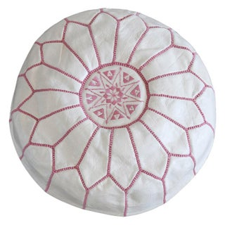 Moroccan Style Pink & White Leather Pouf