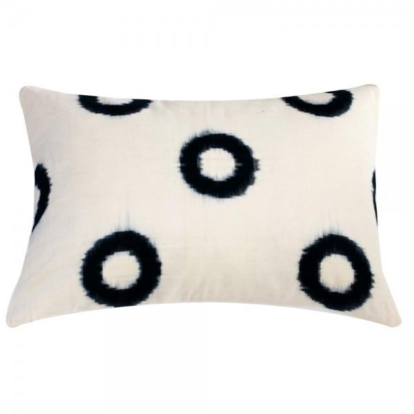 Image of Hand-Loomed White Circle Ikat Pillow