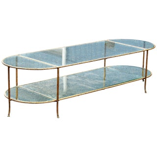 Bagues Style Faux Brass Branch Glass Top Coffee Table