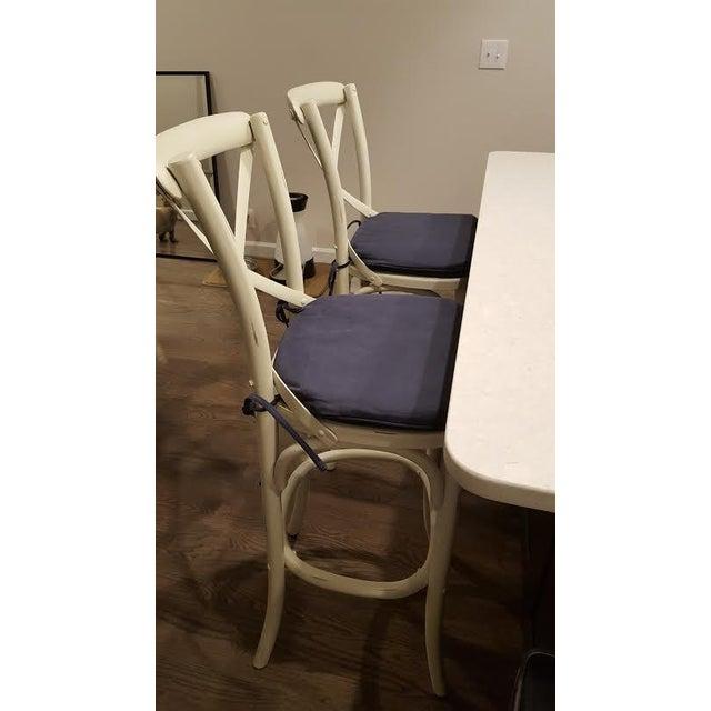Distressed White Bar Stools - Set of 2 - Image 5 of 7