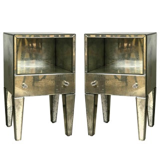 Petite Antiqued Mirrored Nightstands - A Pair