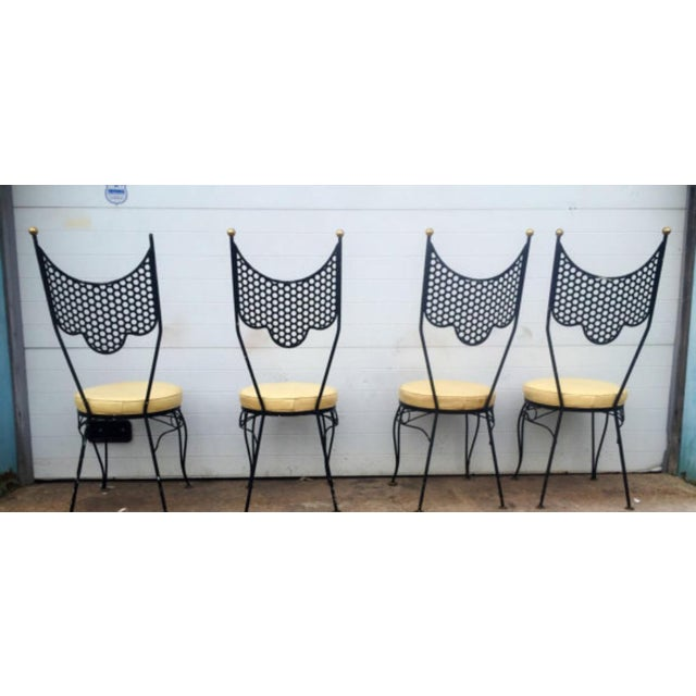 Image of Vintage High Back Metal Chairs - Set of 4