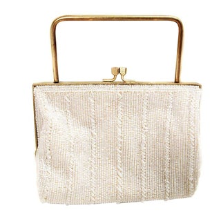 1960s Richere White Beaded Purse