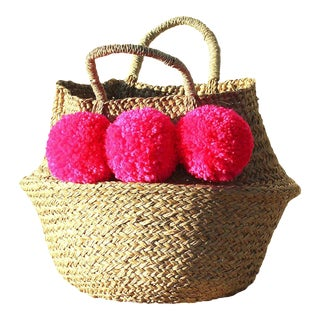 Balinese Pink Pom Pom Woven Belly Basket
