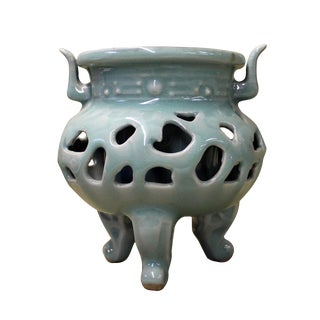 Chinese Ru Ware Celadon Ceramic Ding Incense Burner