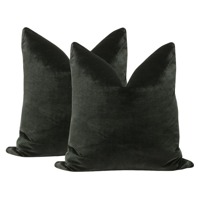 "22"" Italian Silk Velvet Pillows In Black Noir - A Pair - Image 1 of 3"