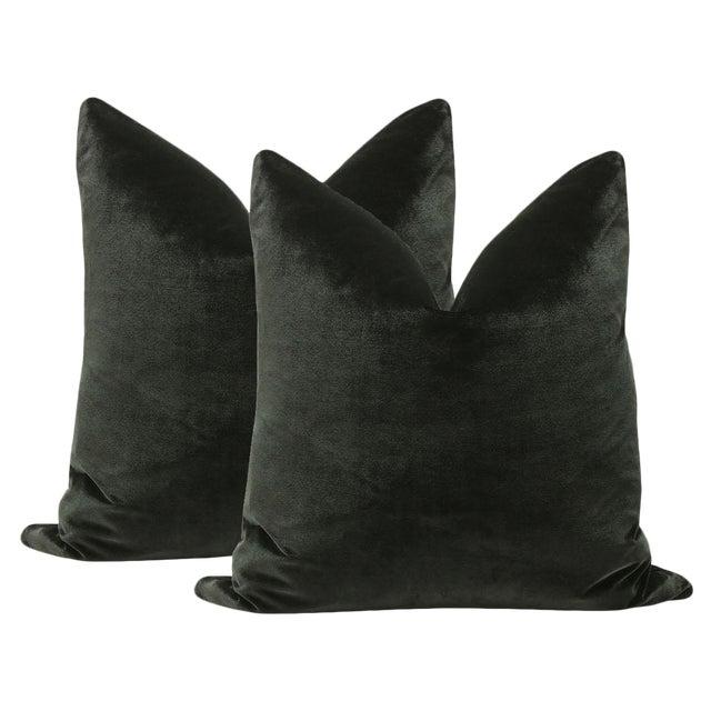"""22"""" Noir Italian Silk Velvet Pillows - a Pair - Image 1 of 3"""
