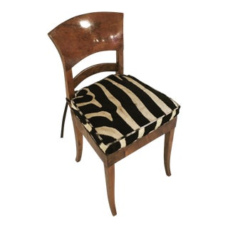 Vintage Biedermeier Style Chair With Zebra Cushion