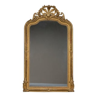 Antique French Régence Style Gold Leaf Mirror circa 1890 (40″ wide x 66″ high)