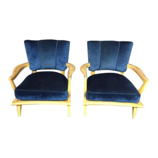 Pair of French Lacquered Mahogany and Velvet Lounge Chairs, 1950s
