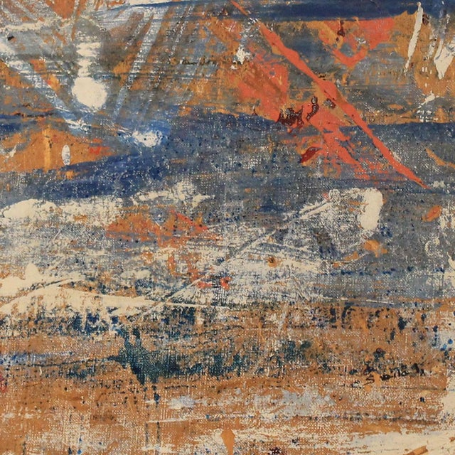 Red, White & Blue Abstract Oil Painting - Image 2 of 5