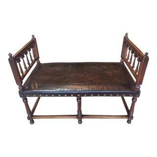 Antique Henry II Walnut & Tooled Leather Bench