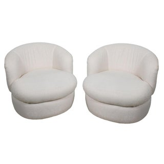 Kagan Style Swivel Lounge Chairs in Cream - Pair