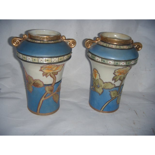 Powder Blue & Peach Nippon Vases - A Pair - Image 2 of 9