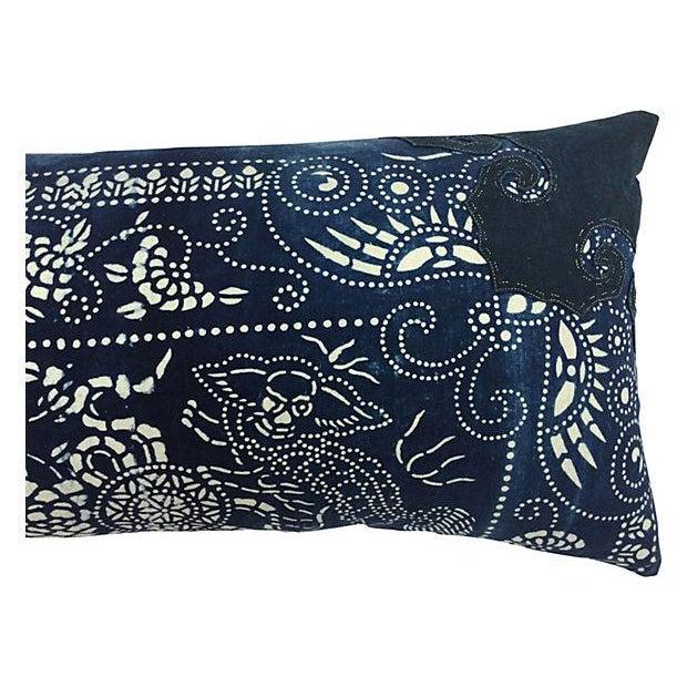 Indigo Batik Body Pillow W/ Foo Dogs - Image 3 of 6