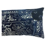 Image of Indigo Batik Body Pillow W/ Foo Dogs