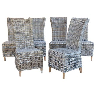 Rattan Wicker High Back Dining Chairs - Set of 6
