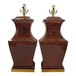 Vintage Paul Hanson Drip Glaze Ceramic Table Lamps - a Pair
