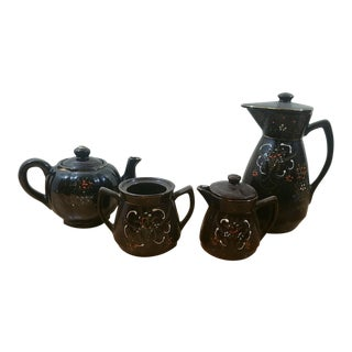 Brown Japanese Hand Painted 4 Piece Set/Coffee Pot, Tea Pot , Creamer and Sugar Bowl