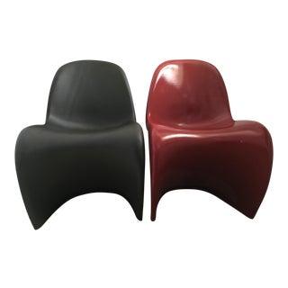 Verner Panton Black & Red Chairs - A Pair