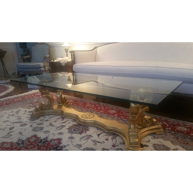 Image of Italian Hand-Carved Base & Glass Top Coffee Table