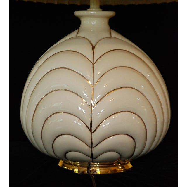 Vintage Modern Porcelain & Gold Table Lamp - Image 3 of 4