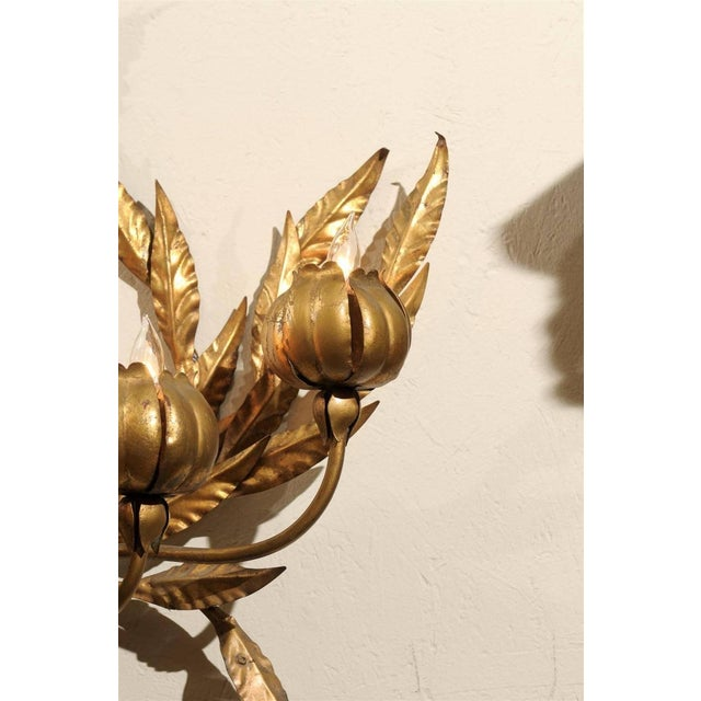 Hollywood Regency Italian Gilt Floral Wall Sconce - Image 3 of 3