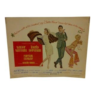 "Vintage Movie Poster ""Cactus Flower"" Walter Matthau & Ingrid Bergman - 1969"