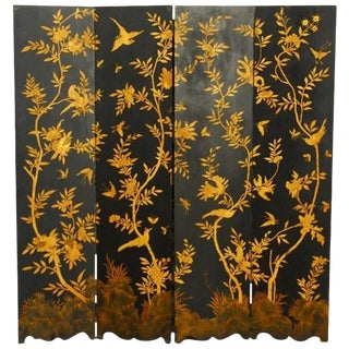 Chinese Black Lacquer Flora and Fauna Decorated Four Panel Screen