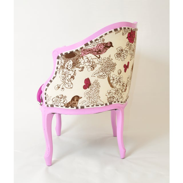 French Provincial Barrel Chair in Magenta - Image 3 of 5