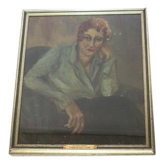 Antique Portrait Painting of 1920's Woman