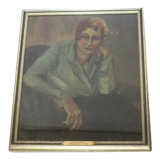 Antique Portrait Painting of 1920's Woman