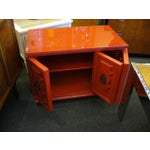 Image of Delightful Regency Red Lacquer Bedside Tables