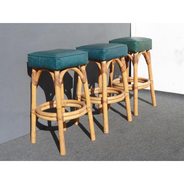 Image of Mid-Century Modern Bamboo Barstools - Set of 3