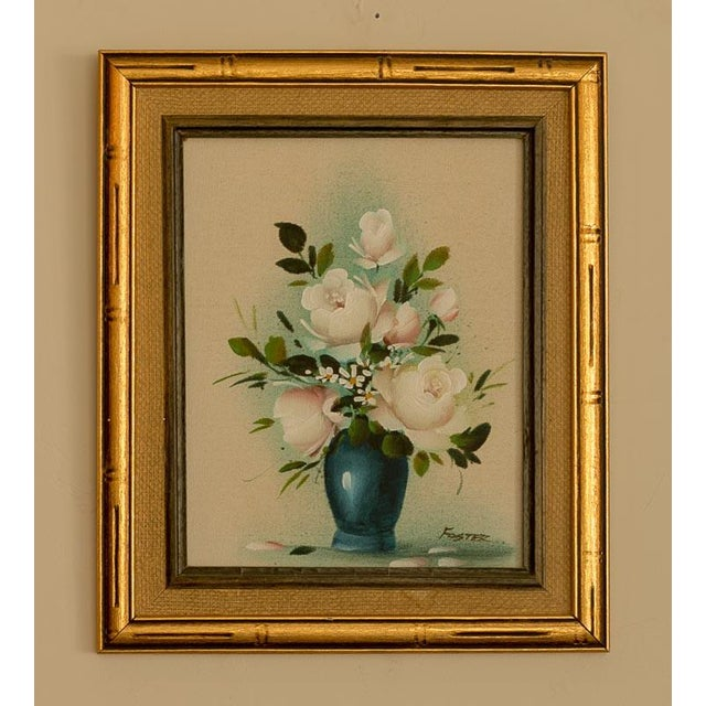 Vintage Floral Oil Painting on Canvas - Image 2 of 3