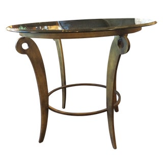 Round Glass & Bronzed Metal Side Table