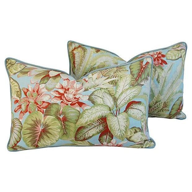Lush Botanical Linen & Velvet Pillows - Pair - Image 1 of 7