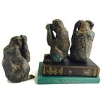 Image of Vintage Bronze Wise Monkey Set Chinese Proverb