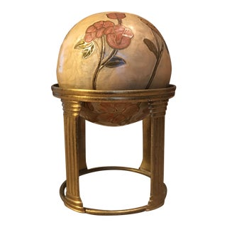 Floral Enamel Cloisonné Ball with Brass Stand