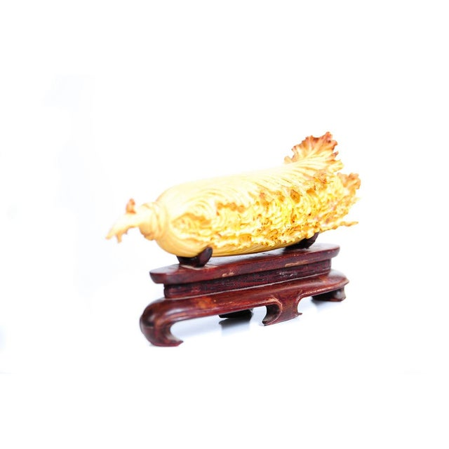 Image of Chinese Antique Lettuce Sculpture on Stand