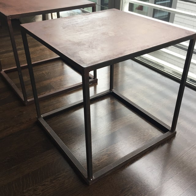 Industrial Frame Square Side Tables - Pair - Image 3 of 7