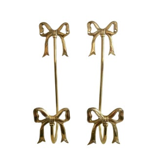 Brass Bow Wall Hooks - A Pair